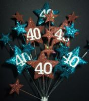 Star age 40th birthday cake topper decoration in teal and choc - free postage